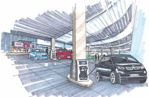 An artist's impression of an electric charge point forecourt.