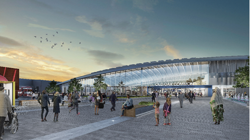 An artist's impression of Old Oak Common station on completion.