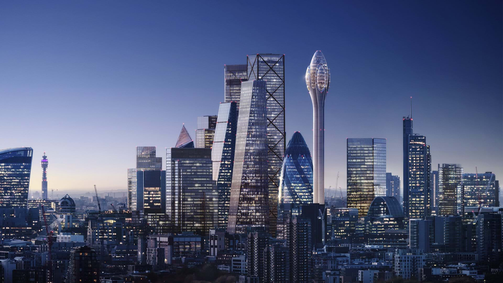 An artist's impression of the Foster+ Partners designed The Tulip.