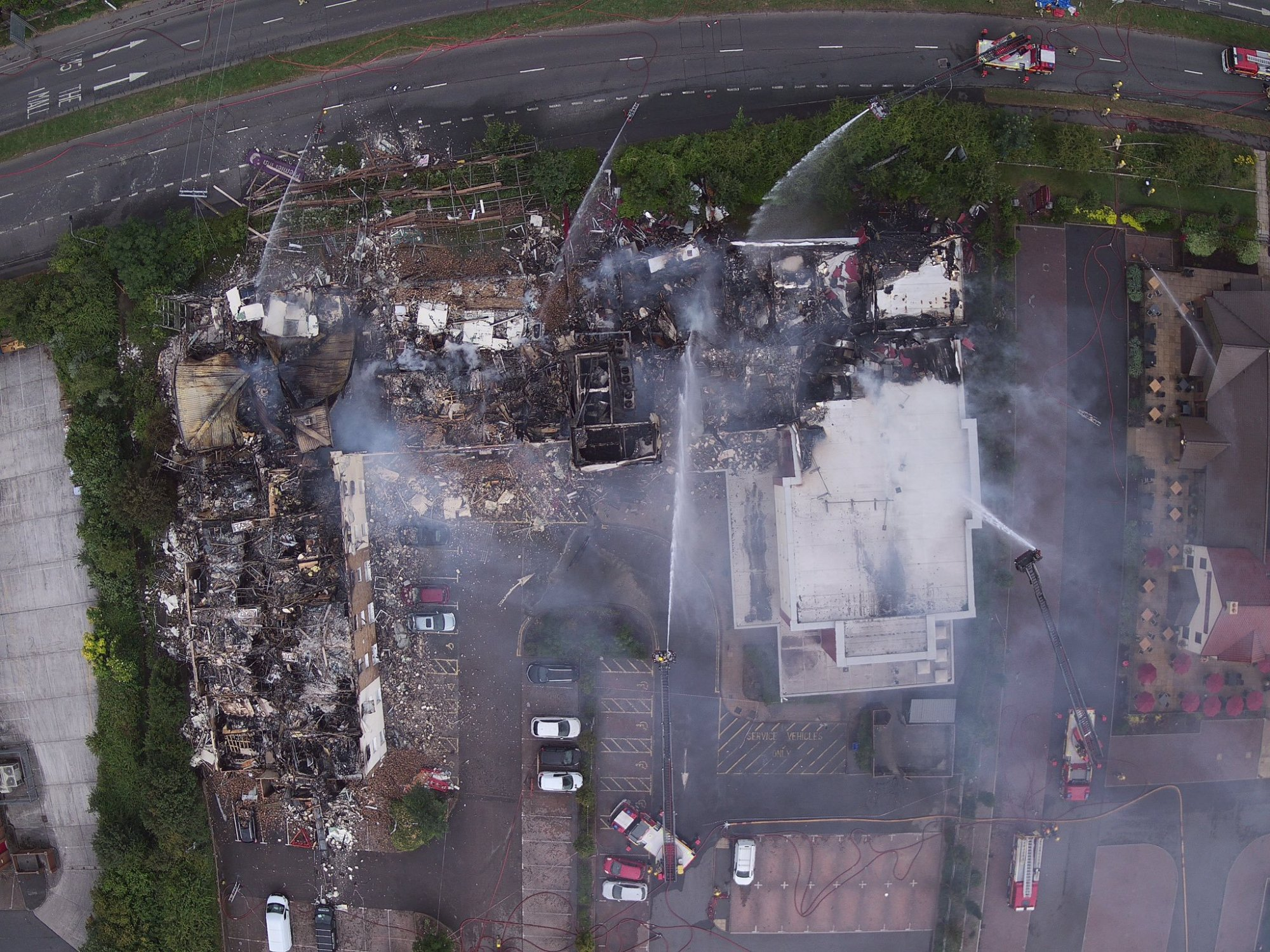 Another drone shot of the Bristo Premier Inn fire