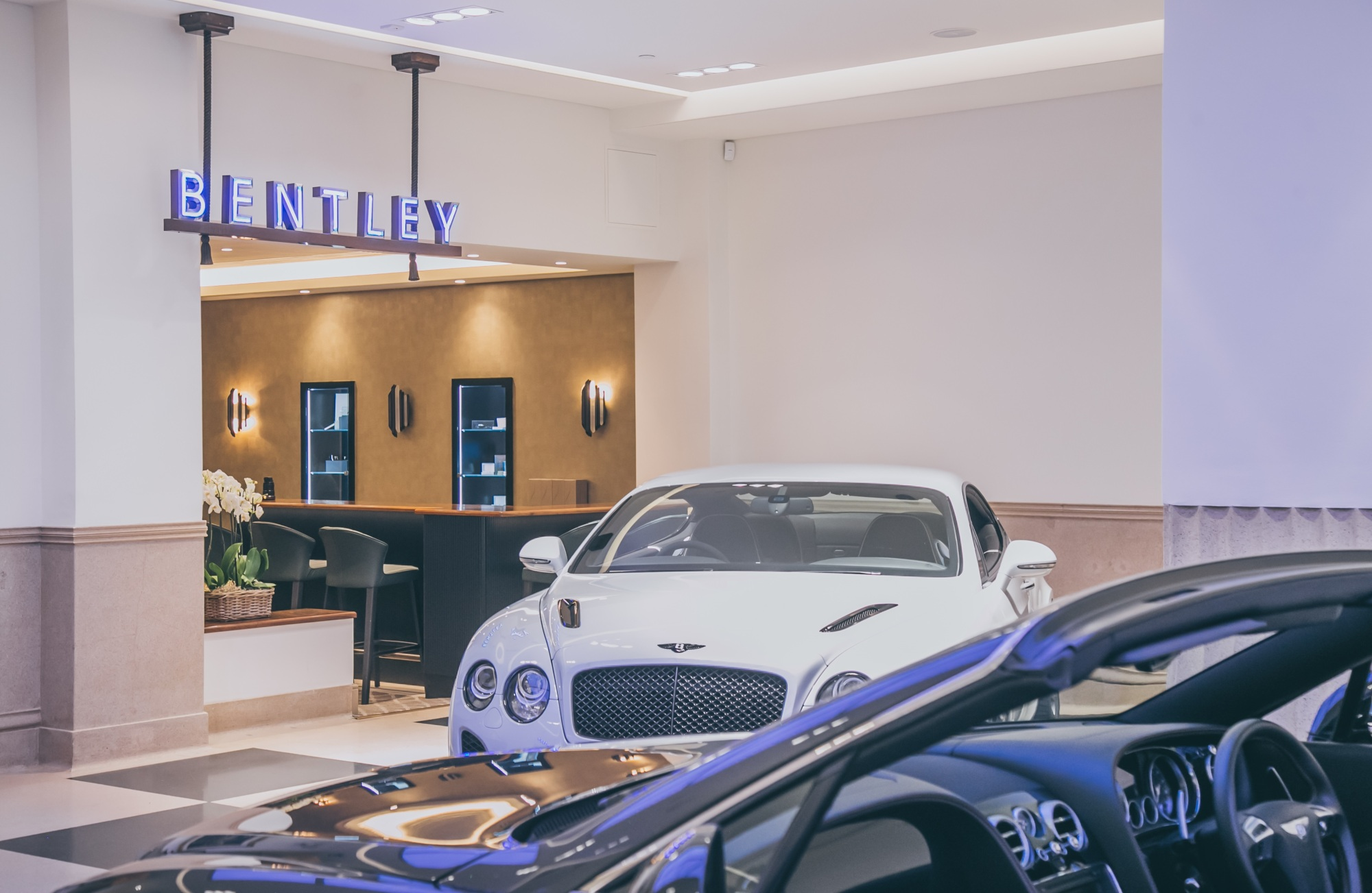 A leather trimmed bar and a private commissioning suite among new elements at Bentley's Mayfair showroom