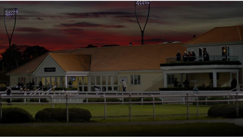 Chelmsford City Racecourse in the normal glow of its floodlights