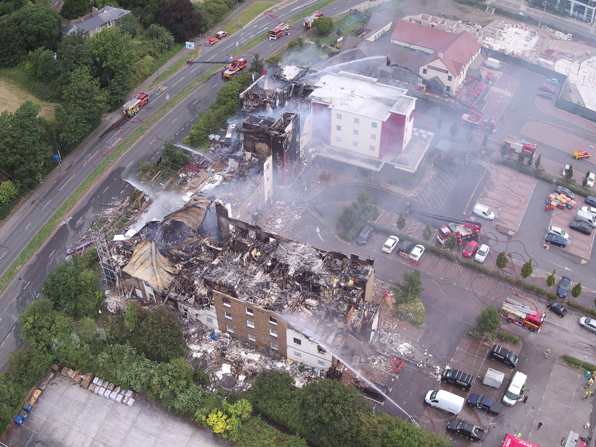 Premier Inn Bristol Fire - from drone