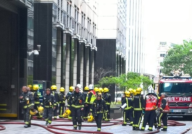 23 people were evacuated from an office block on London's Fleet Street.