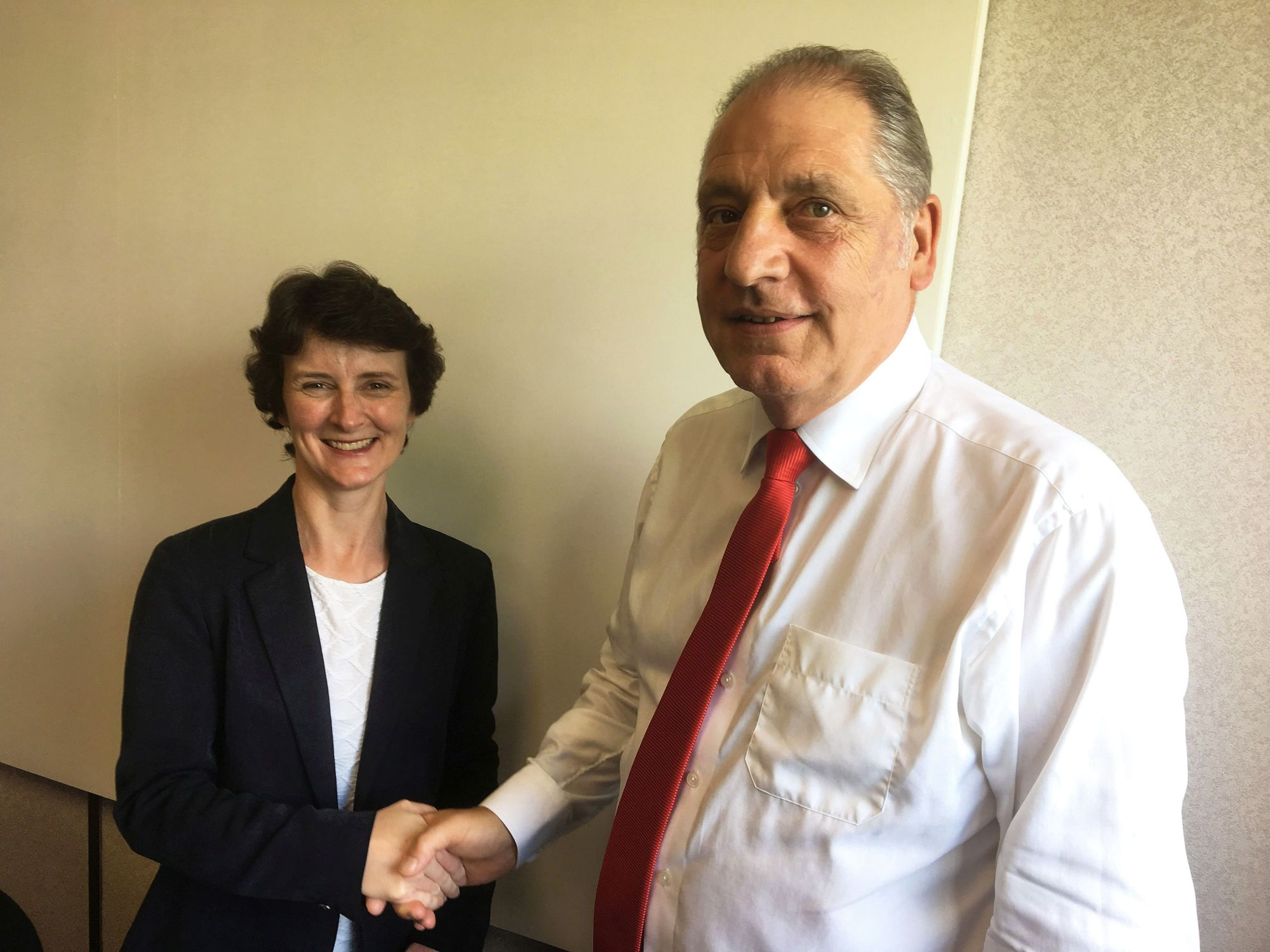 Lauren Kyle, Head of Cleaning at Sodexo and Chair of the BSA's Cleaning Committee and Stan Atkins, Chair of the British Cleaning Council.