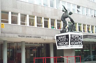Make Poverty History Banner Outside the TUC Building