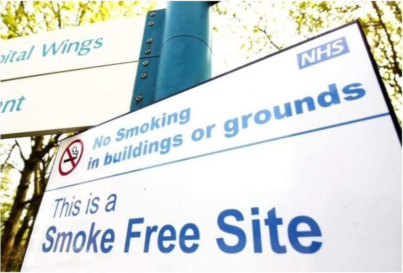 A survey has found that more than two-thirds of NHS acute trusts in England now prohibit smoking on site