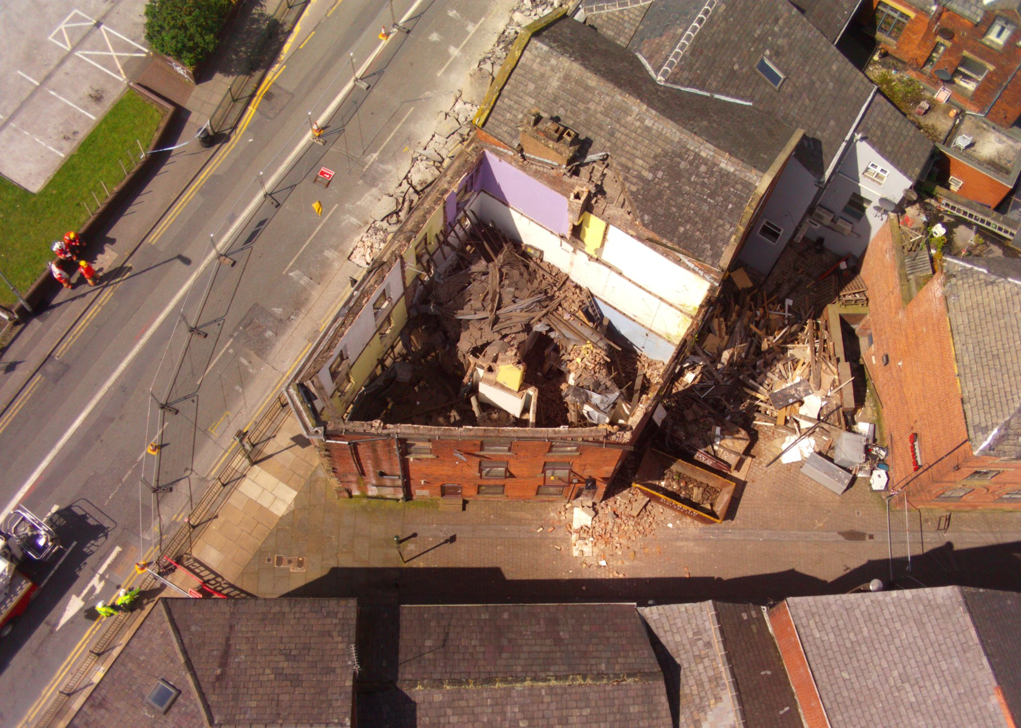 The collapsed building in Oldham