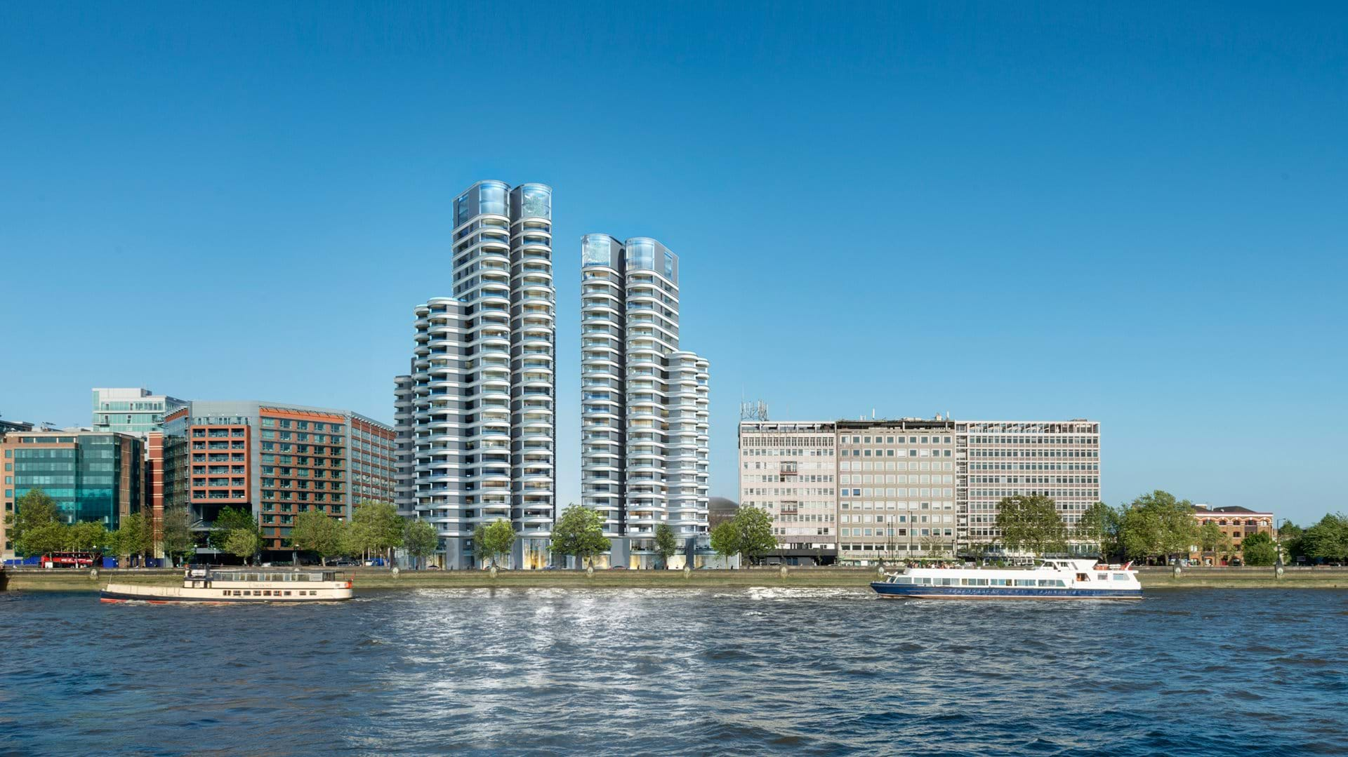 he Corniche is a mixed-use development of three landmark towers along the Albert Embankment on the south bank of the River Thames, opposite the Houses of Parliament where a 53-year old coach driver has been killed by a window which fell on him from height