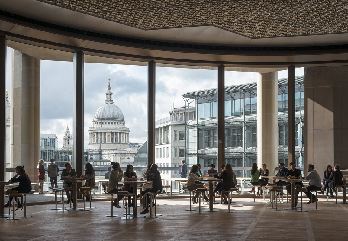 The expansive, double-height pantry overlooking St Paul's Cathedral is the heart of the building