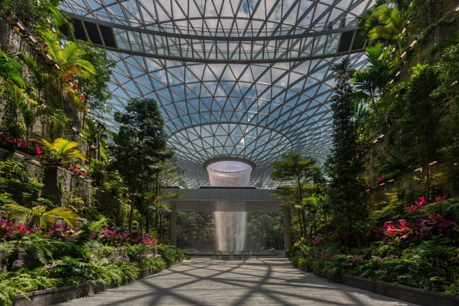 The world's largest indoor waterfall at Jewel Changi Airport.